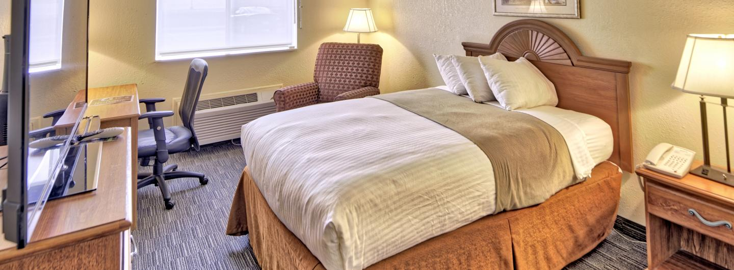 handicap room with one double bed