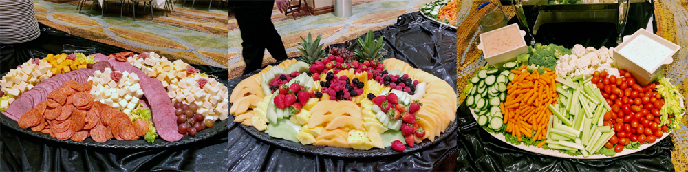 meat and cheese tray,fruit tray and veggie tray