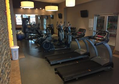 Fitness center showing treadmills, elliptical machines and stationary bicycles