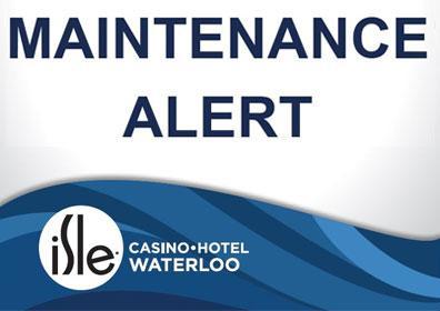 maintenance alert text with blue isle swoosh