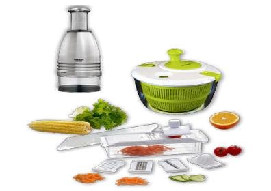 Image of chopper, countertop prep cutter and a salad spinner