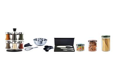 spice rack, baking set, kife set and canister set