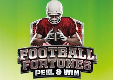 Football fortune text with football player and green background