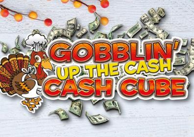 Gobblin' Up the Cash with turkey and money background