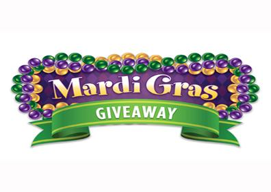 mardi gras text with purple green and yellow beads around it
