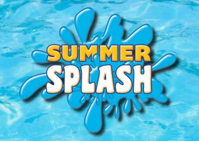 summer splash text with water background