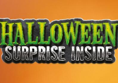 Halloween surprise inside text with orange background