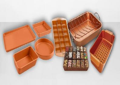 Copper cookware with white background