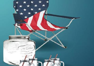 flag chairs, mason jars with blue background