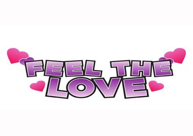 feel the love text with pink hearts around it
