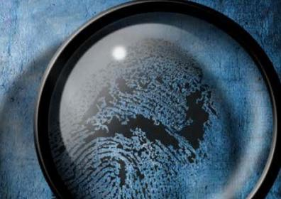 blue background with magnifying glass