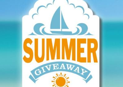 Summer giveaway logo with white blue and tan background
