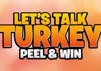 Let's Talk Turkey Peel & Win Orange & Pink background