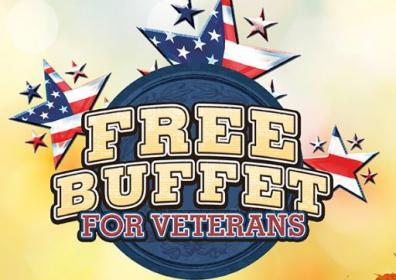 Veterans Buffet Red white and blue background