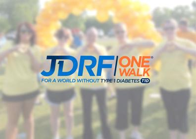 The JDRF One Walk logo for a walk to cure diabetes