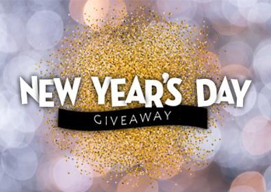 New Year's Day Giveaway with gold glitter in the background