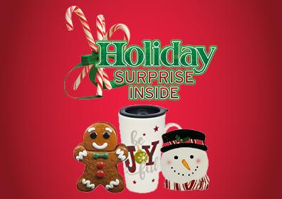 Red background with holiday surprise inside with gingerbread cookie jar, be joyful mug and snowman plate