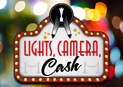 Lights, Camera, Cash with lights and stars