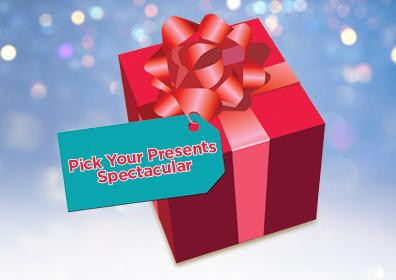 Pick Your PResents Spectacular on a blue gift tag on a red wrapped present with bow