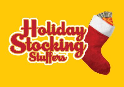 Holiday stocking stuffers with red font and white outline on a yellow background with a red stocking