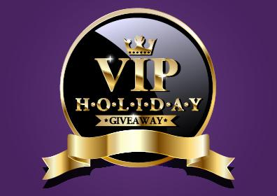 VIP HOLIDAY GIVEAWAY in a black circle with gold outline and ribbon on a deep purple background