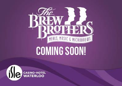 brew brothers logo with coming soon text and isle logo