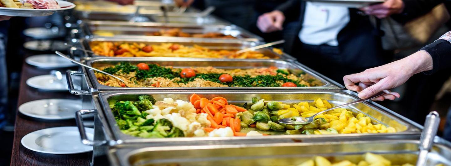 serving buffet with vegetables