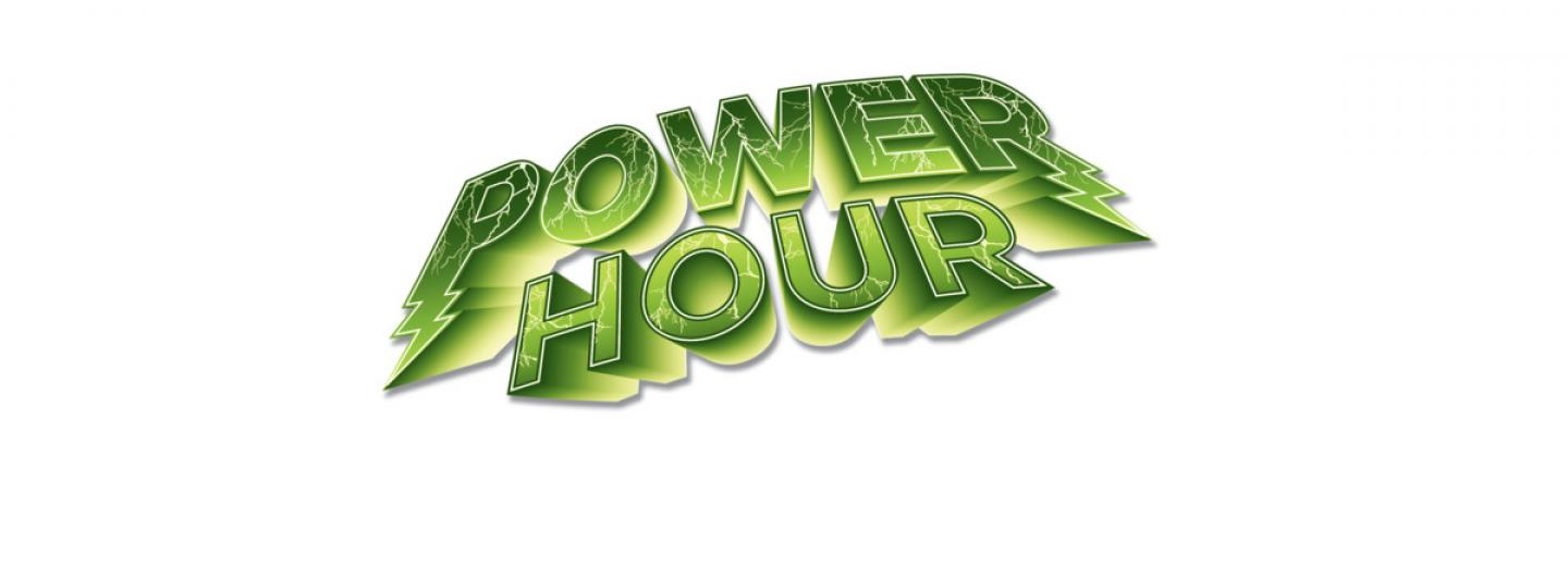 white background with green text saying power hour with lightning