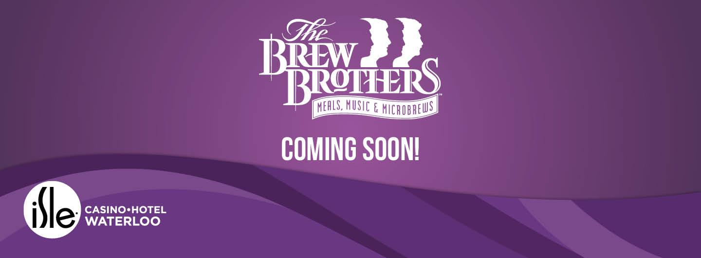 Purple background with white text of brew brothers coming soon