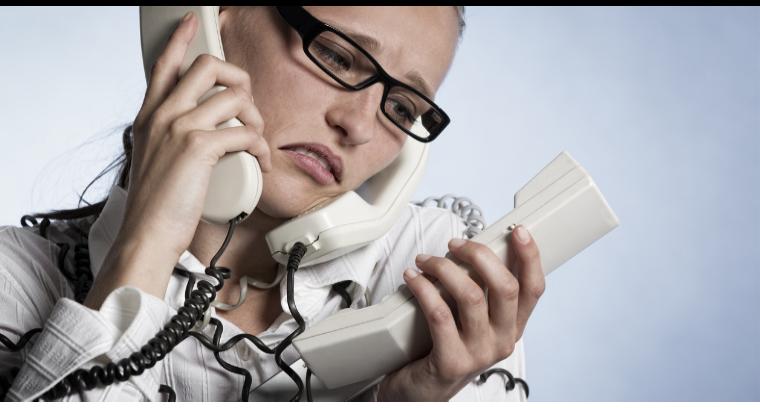 woman struggling with management tasks