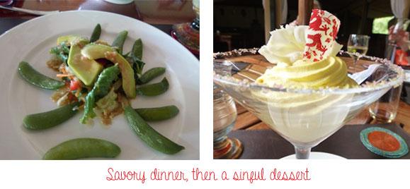 dinner and dessert on safari