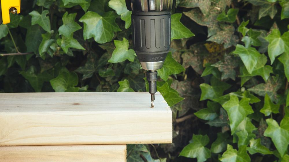 drilling diy planter bed