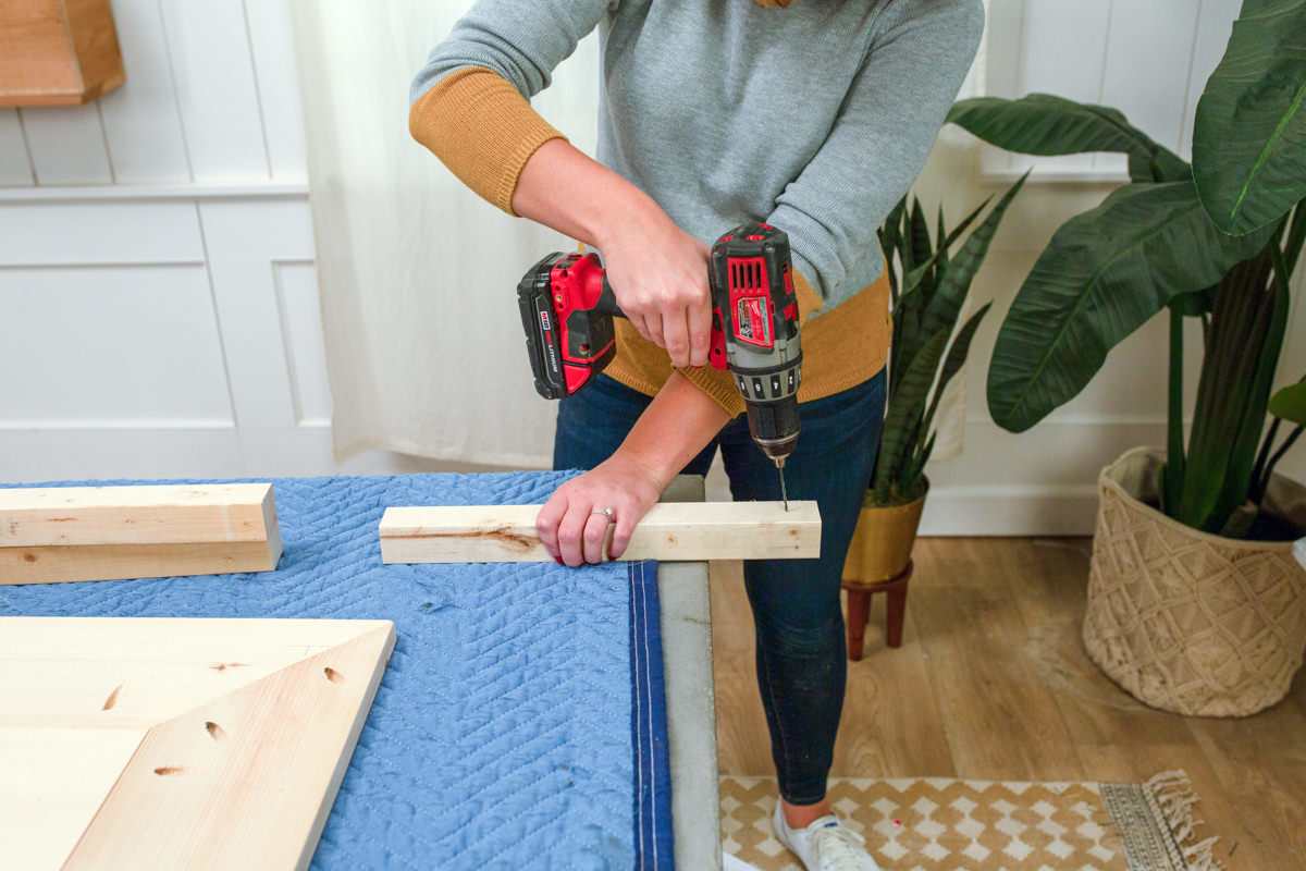 Drill holes for building a buffet table