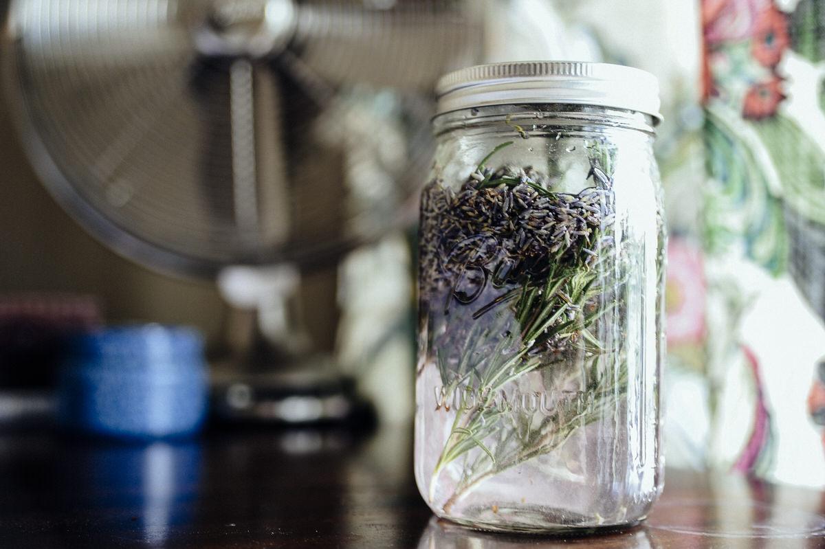 white vinegar over rosemary and lavender
