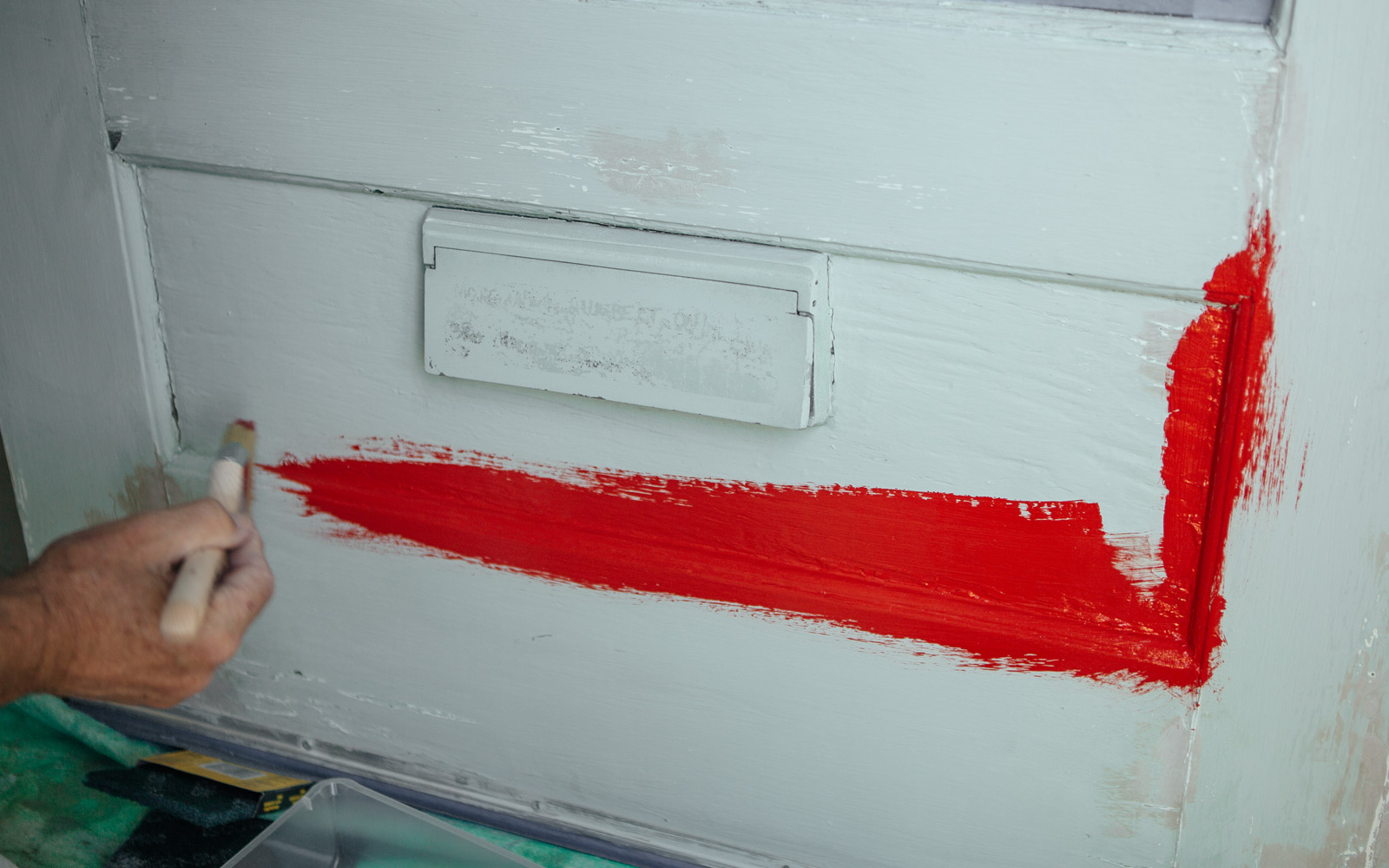 red paint on front door