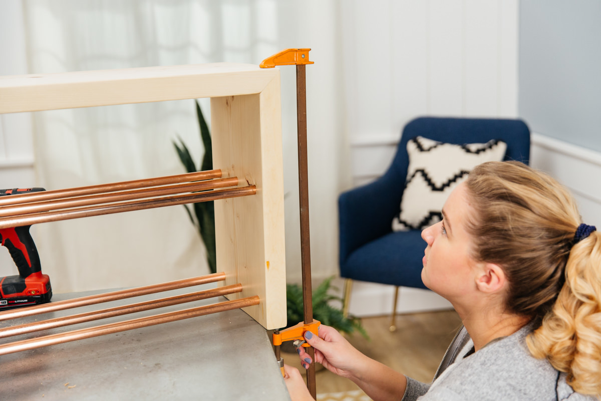 using clamp for diy shelf