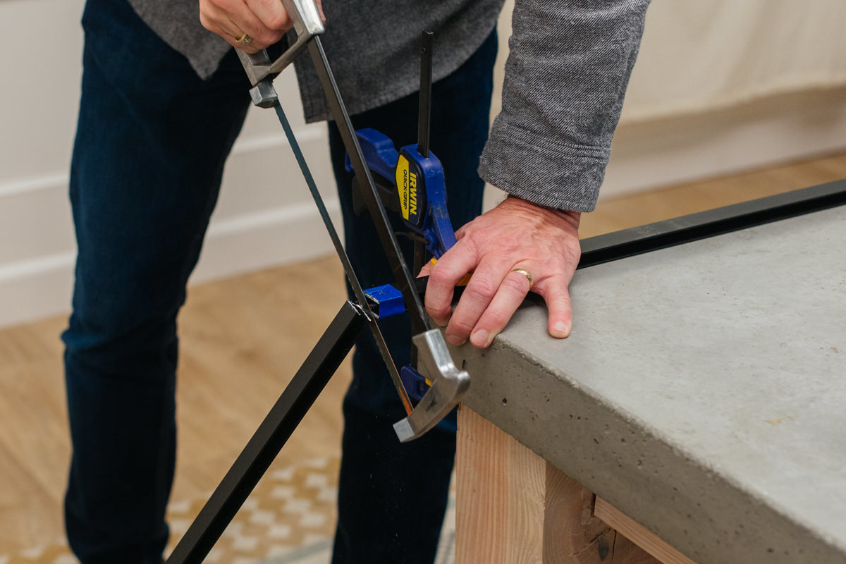 cutting holes for diy potting bench