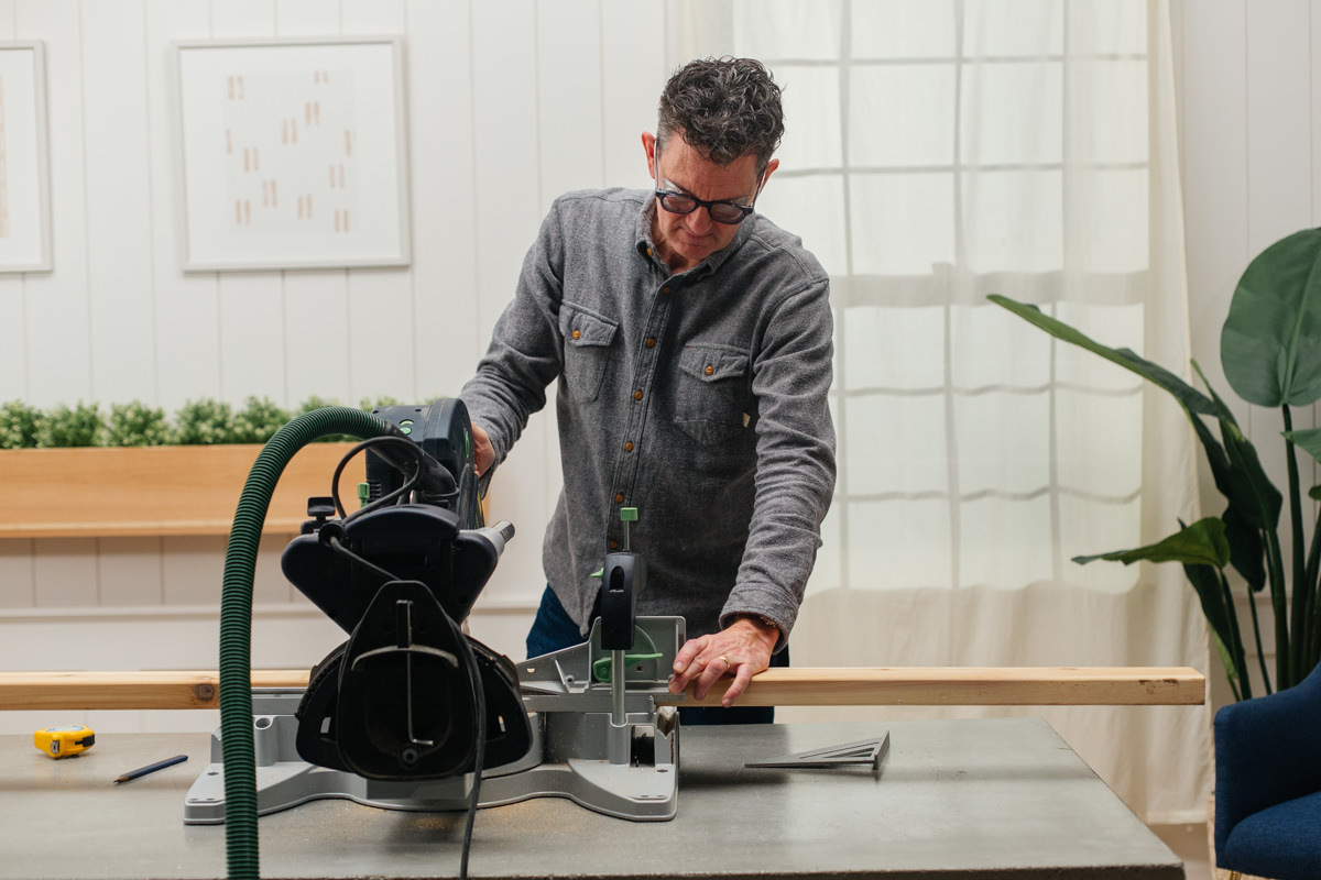 cutting bench legs with a saw