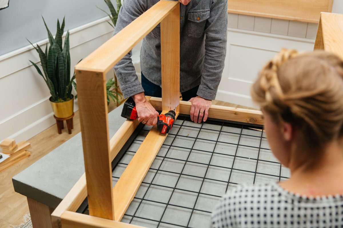 add box frames to the back of each bench