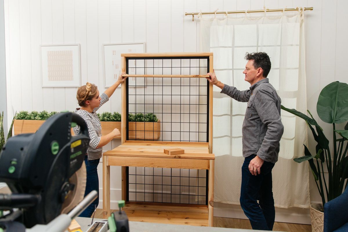 adding shelves to potting bench