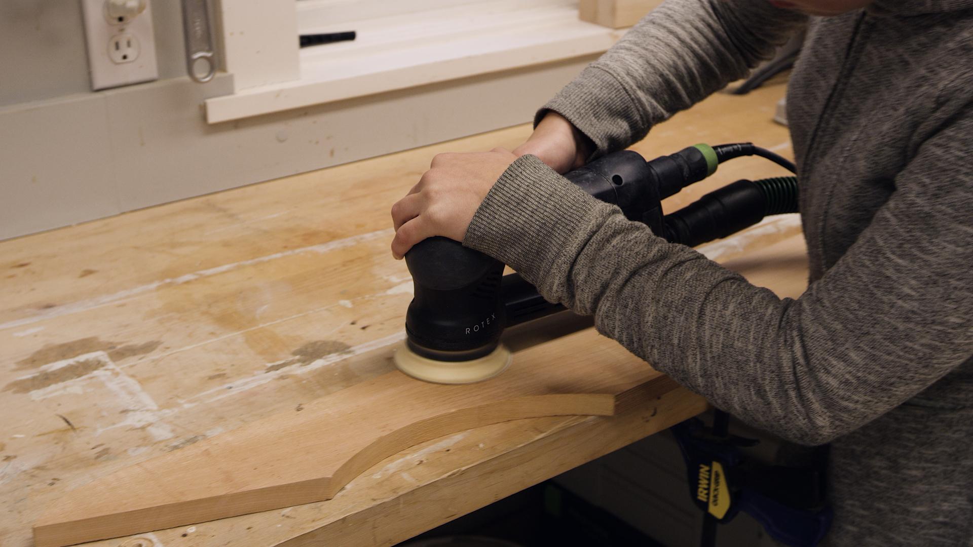 sanding adirondack chair