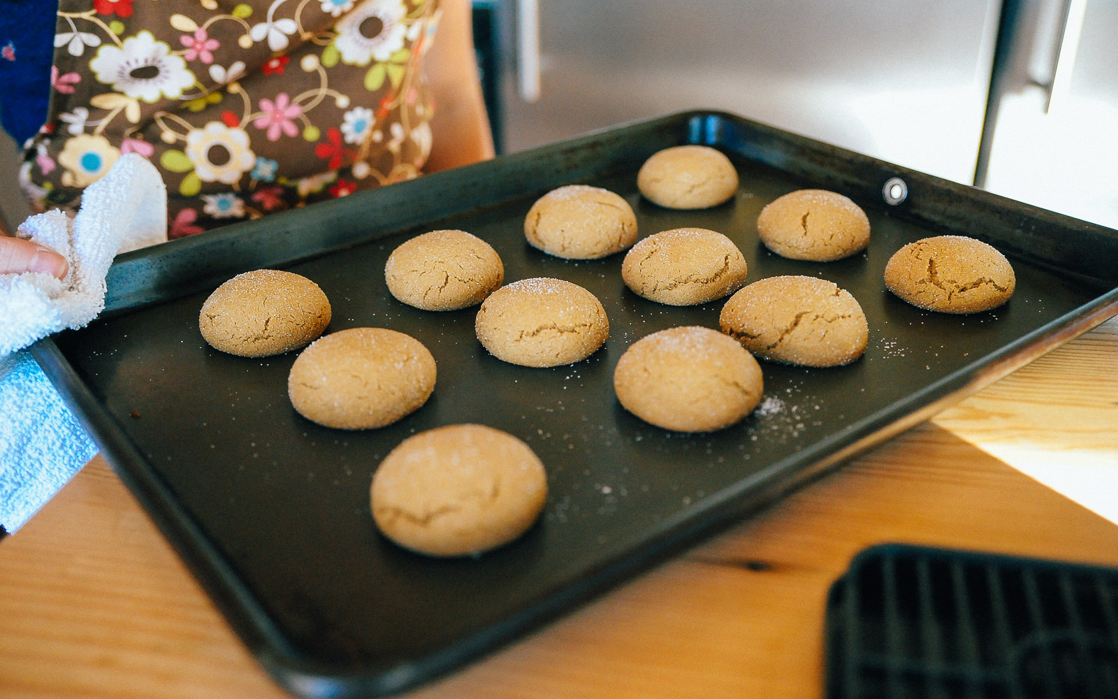 molasses cookies on oven tray