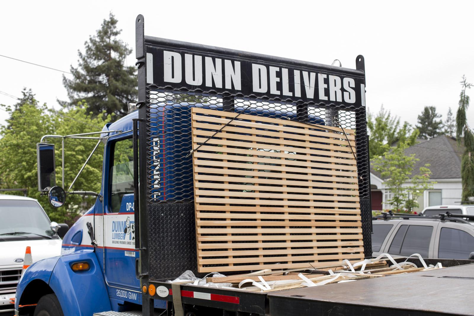 dunn lumber delivering wood for sandbox