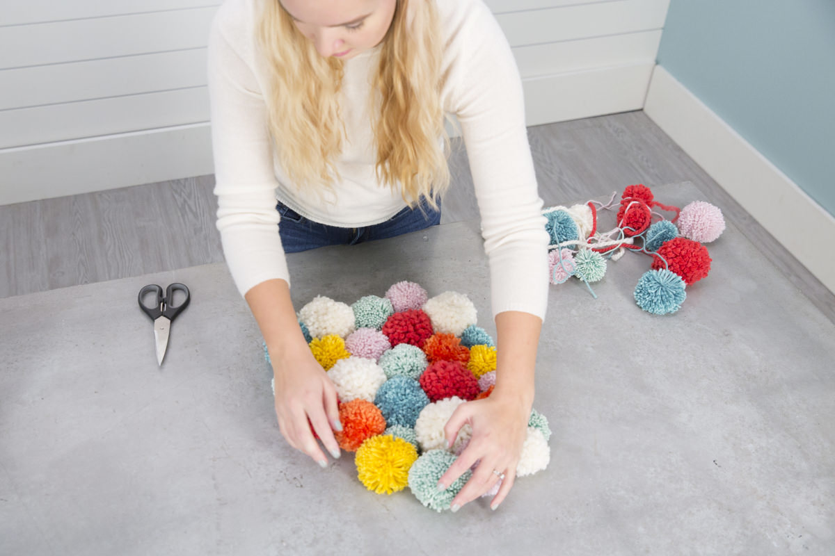 colorful pom-poms