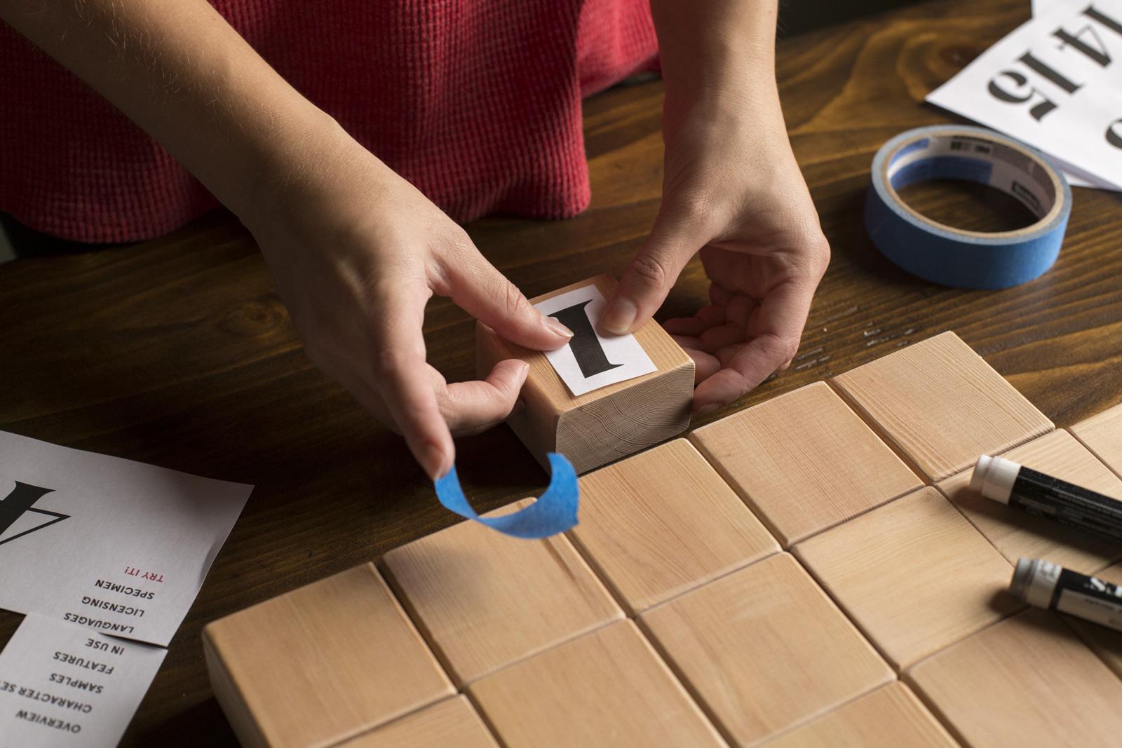 taping number on blocks