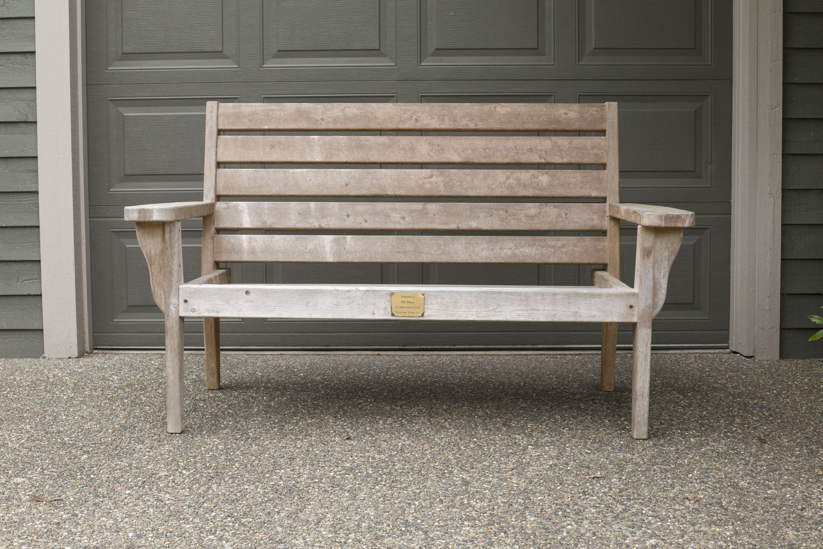 refinished weathered bench