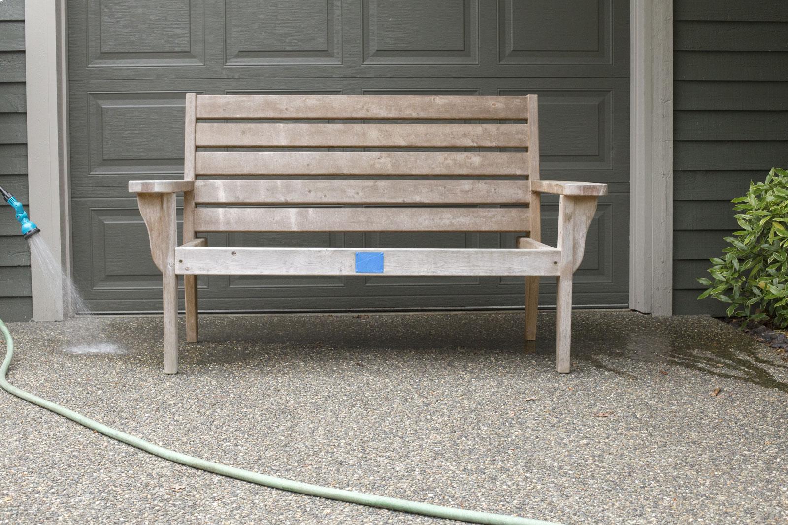 wet down area around bench