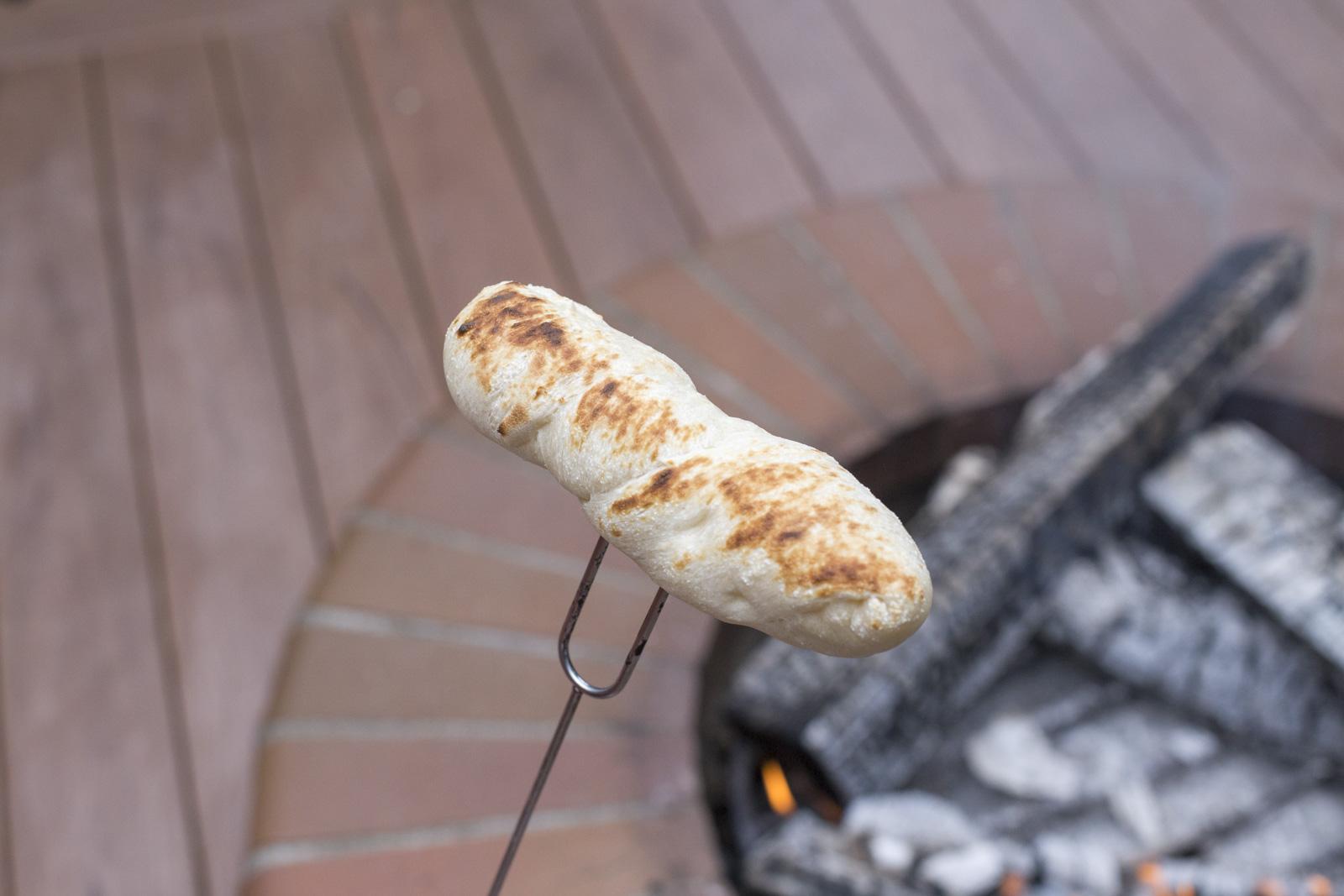 roasting hotdog