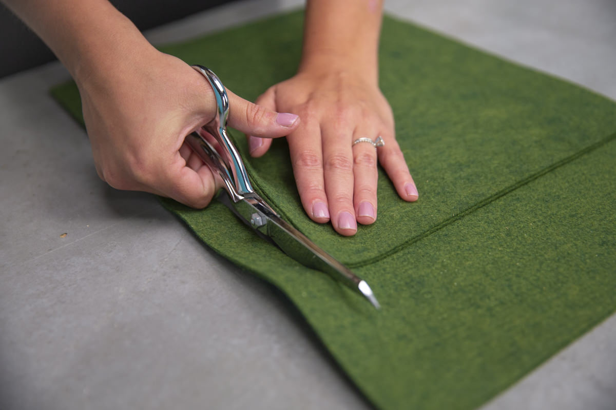 cutting pieces of felt