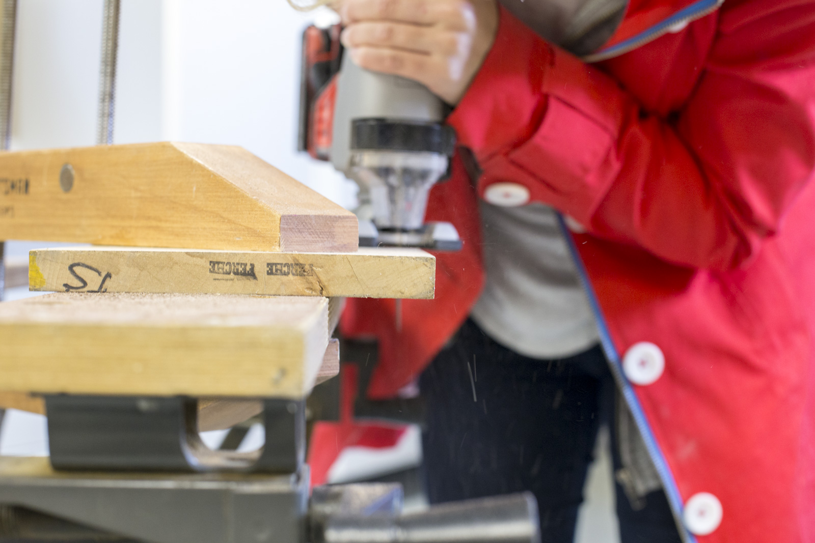 sawing wood for cutting board